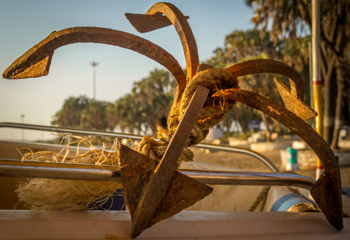 An anchor in a boat in Nagoa beach