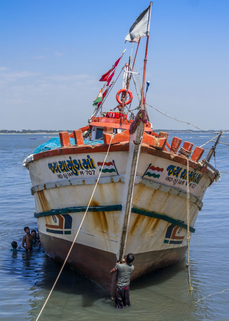 An usual Indian fisherman's ship
